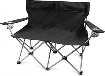 normani 2-Sitzer Campingstuhl Doppelklappstuhl Campingsofa bis 250 Kg inkl. Tragebeutel und Getränkhalter Farbe Schwarz - 1