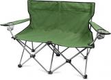 normani 2-Sitzer Campingstuhl Doppelklappstuhl Campingsofa bis 250 Kg inkl. Tragebeutel und Getränkhalter Farbe Oliv - 1