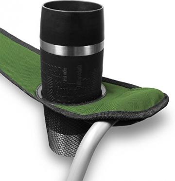 normani 2-Sitzer Campingstuhl Doppelklappstuhl Campingsofa bis 250 Kg inkl. Tragebeutel und Getränkhalter Farbe Oliv - 5