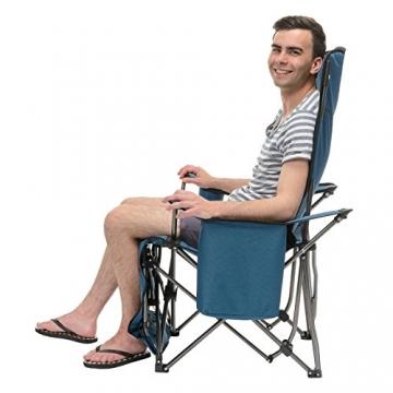 Qeedo Camping-Stuhl Johnny Relax bis 105 kg, Klappstuhl, Fußablage, Getränkehalter - blau - 4
