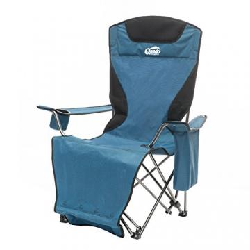 Qeedo Camping-Stuhl Johnny Relax bis 105 kg, Klappstuhl, Fußablage, Getränkehalter - blau - 1