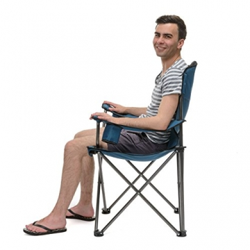 Qeedo Camping-Stuhl XL Johnny bis 150 kg, Klappstuhl mit Getränkehalter, Festivalstuhl - blau - 4