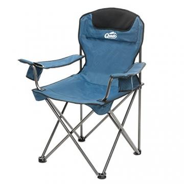 Qeedo Camping-Stuhl XL Johnny bis 150 kg, Klappstuhl mit Getränkehalter, Festivalstuhl - blau - 1