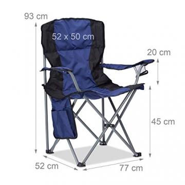 Relaxdays 4X Campingstuhl faltbar, Klappstuhl, mit Getränkehalter, mit Rückenlehne und Armlehne, HxBxT: 93x77x52 cm, blau-schwarz - 2