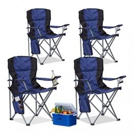 Relaxdays 4X Campingstuhl faltbar, Klappstuhl, mit Getränkehalter, mit Rückenlehne und Armlehne, HxBxT: 93x77x52 cm, blau-schwarz - 1
