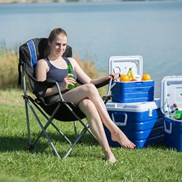 Relaxdays Campingstuhl faltbar, gepolsterte Lehne verstellbar, Anglerstuhl klappbar, HxBxT: 108x90x72 cm, blau-schwarz - 2