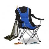 Relaxdays Campingstuhl faltbar, gepolsterte Lehne verstellbar, Anglerstuhl klappbar, HxBxT: 108x90x72 cm, blau-schwarz - 1