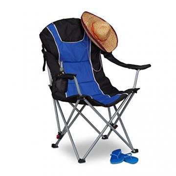 Relaxdays Campingstuhl faltbar, gepolsterte Lehne verstellbar, Anglerstuhl klappbar, HxBxT: 108x90x72 cm, blau-schwarz - 3