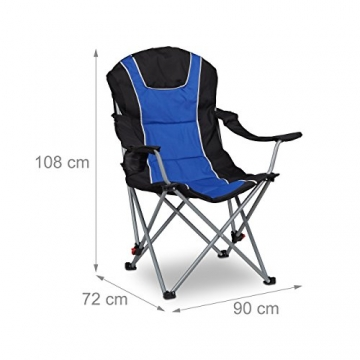 Relaxdays Campingstuhl faltbar, gepolsterte Lehne verstellbar, Anglerstuhl klappbar, HxBxT: 108x90x72 cm, blau-schwarz - 4