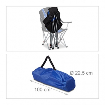 Relaxdays Campingstuhl faltbar, gepolsterte Lehne verstellbar, Anglerstuhl klappbar, HxBxT: 108x90x72 cm, blau-schwarz - 5