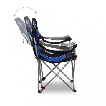 Relaxdays Campingstuhl faltbar, gepolsterte Lehne verstellbar, Anglerstuhl klappbar, HxBxT: 108x90x72 cm, blau-schwarz - 6