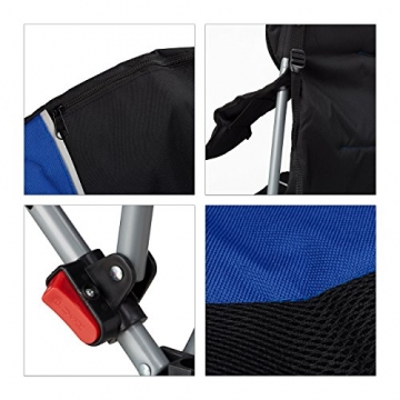 Relaxdays Campingstuhl faltbar, gepolsterte Lehne verstellbar, Anglerstuhl klappbar, HxBxT: 108x90x72 cm, blau-schwarz - 7