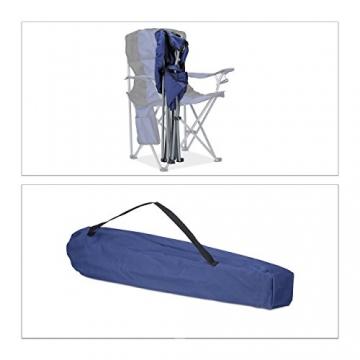 Relaxdays Campingstuhl faltbar, mit Getränkehalter, mit Rückenlehne und Armlehne, HxBxT: 93x77x52 cm, blau-schwarz - 3