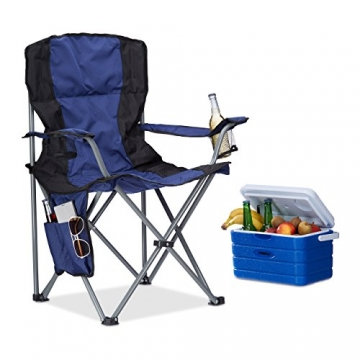 Relaxdays Campingstuhl faltbar, mit Getränkehalter, mit Rückenlehne und Armlehne, HxBxT: 93x77x52 cm, blau-schwarz - 1