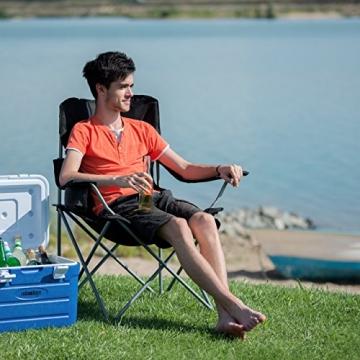 Relaxdays Campingstuhl faltbar mit Lehne, Faltstuhl klappbar für Festival, Anglerstuhl HxBxT: 100x90x56 cm, blau-schwarz - 2