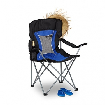 Relaxdays Campingstuhl faltbar mit Lehne, Faltstuhl klappbar für Festival, Anglerstuhl HxBxT: 100x90x56 cm, blau-schwarz - 3