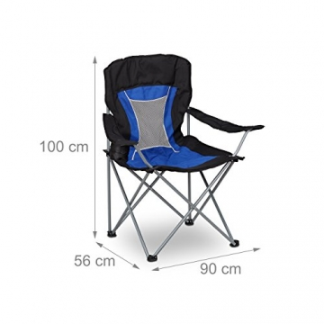 Relaxdays Campingstuhl faltbar mit Lehne, Faltstuhl klappbar für Festival, Anglerstuhl HxBxT: 100x90x56 cm, blau-schwarz - 4