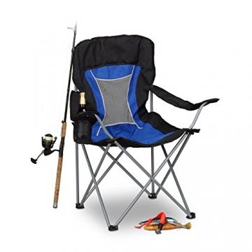 Relaxdays Campingstuhl faltbar mit Lehne, Faltstuhl klappbar für Festival, Anglerstuhl HxBxT: 100x90x56 cm, blau-schwarz - 1