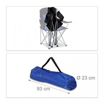 Relaxdays Campingstuhl faltbar mit Lehne, Faltstuhl klappbar für Festival, Anglerstuhl HxBxT: 100x90x56 cm, blau-schwarz - 5