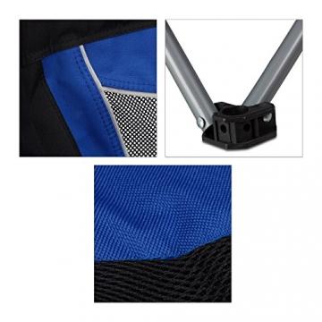 Relaxdays Campingstuhl faltbar mit Lehne, Faltstuhl klappbar für Festival, Anglerstuhl HxBxT: 100x90x56 cm, blau-schwarz - 6