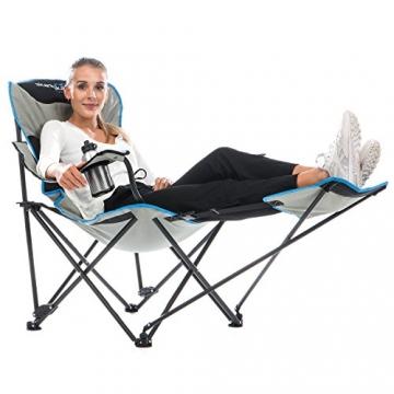 skandika Campingstuhl Relax Stabiler Faltstuhl mit Beinauflage und Getränkehalter, bis 130 kg belastbar - 1