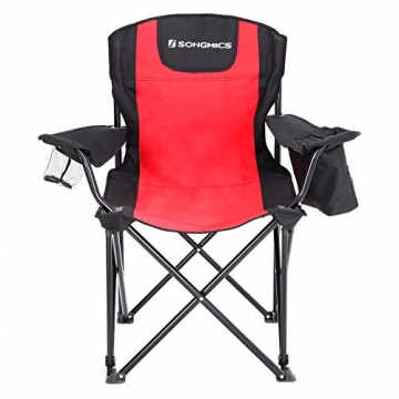 SONGMICS Campingstuhl, klappbar, Klappstuhl mit hoher Rückenlehne, mit Flaschenhalter und Kühltasche, komfortabel, Robustes Gestell, bis 250 kg belastbar, Outdoor Stuhl, rot und schwarz GCB10RB - 2