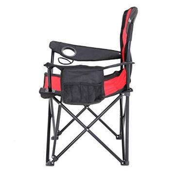 SONGMICS Campingstuhl, klappbar, Klappstuhl mit hoher Rückenlehne, mit Flaschenhalter und Kühltasche, komfortabel, Robustes Gestell, bis 250 kg belastbar, Outdoor Stuhl, rot und schwarz GCB10RB - 3