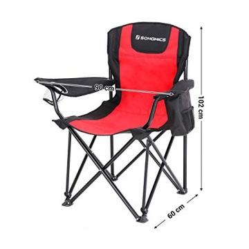 SONGMICS Campingstuhl, klappbar, Klappstuhl mit hoher Rückenlehne, mit Flaschenhalter und Kühltasche, komfortabel, Robustes Gestell, bis 250 kg belastbar, Outdoor Stuhl, rot und schwarz GCB10RB - 4
