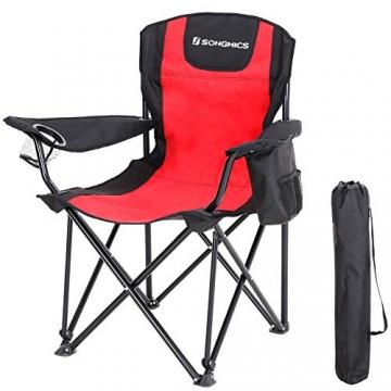 SONGMICS Campingstuhl, klappbar, Klappstuhl mit hoher Rückenlehne, mit Flaschenhalter und Kühltasche, komfortabel, Robustes Gestell, bis 250 kg belastbar, Outdoor Stuhl, rot und schwarz GCB10RB - 1