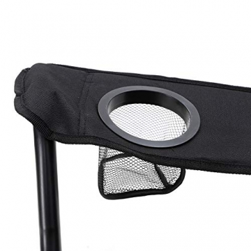 SONGMICS Campingstuhl, klappbar, Klappstuhl mit hoher Rückenlehne, mit Flaschenhalter und Kühltasche, komfortabel, Robustes Gestell, bis 250 kg belastbar, Outdoor Stuhl, rot und schwarz GCB10RB - 6