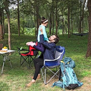 SONGMICS Campingstuhl, klappbar, Klappstuhl mit hoher Rückenlehne, mit Flaschenhalter und Kühltasche, komfortabel, Robustes Gestell, bis 250 kg belastbar, Outdoor Stuhl, rot und schwarz GCB10RB - 7