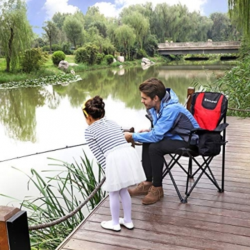 SONGMICS Campingstuhl, klappbar, Klappstuhl mit hoher Rückenlehne, mit Flaschenhalter und Kühltasche, komfortabel, Robustes Gestell, bis 250 kg belastbar, Outdoor Stuhl, rot und schwarz GCB10RB - 8