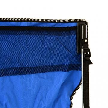SONLEX Campingstuhl faltbar Angelstuhl klappbar blau grau bis 150 kg belastbar Faltstuhl mit Armlehne Getränkehalter Tragetasche Metallgestell Stahlrohr (blau) - 5