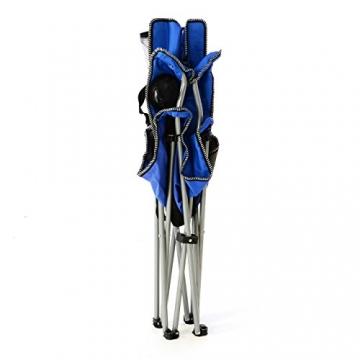 SONLEX Campingstuhl faltbar Angelstuhl klappbar blau grau bis 150 kg belastbar Faltstuhl mit Armlehne Getränkehalter Tragetasche Metallgestell Stahlrohr (blau) - 6