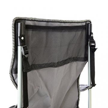 SONLEX Campingstuhl faltbar Angelstuhl klappbar blau grau bis 150 kg belastbar Faltstuhl mit Armlehne Getränkehalter Tragetasche Metallgestell Stahlrohr (grau) - 4