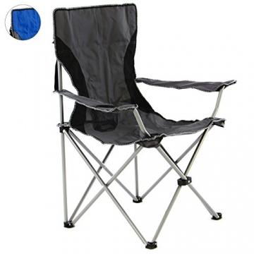 SONLEX Campingstuhl faltbar Angelstuhl klappbar blau grau bis 150 kg belastbar Faltstuhl mit Armlehne Getränkehalter Tragetasche Metallgestell Stahlrohr (grau) - 1