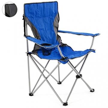 SONLEX Campingstuhl faltbar Angelstuhl klappbar blau grau bis 150 kg belastbar Faltstuhl mit Armlehne Getränkehalter Tragetasche Metallgestell Stahlrohr (blau) - 1