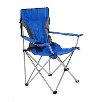 SONLEX Campingstuhl faltbar Angelstuhl klappbar blau grau bis 150 kg belastbar Faltstuhl mit Armlehne Getränkehalter Tragetasche Metallgestell Stahlrohr (blau) - 2