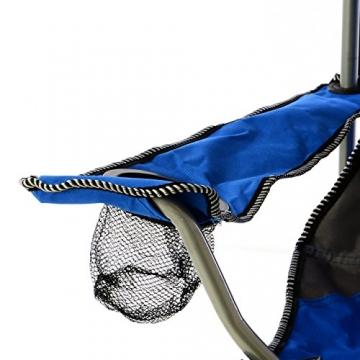 SONLEX Campingstuhl faltbar Angelstuhl klappbar blau grau bis 150 kg belastbar Faltstuhl mit Armlehne Getränkehalter Tragetasche Metallgestell Stahlrohr (blau) - 4