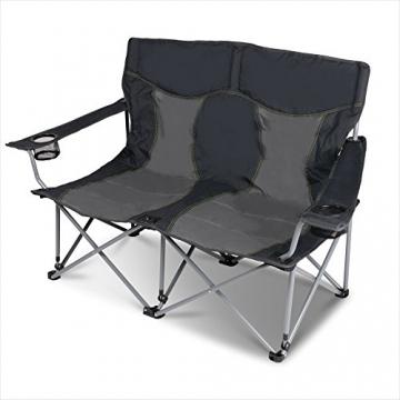 XXL Campingsofa mit 240 KG Tragkraft | 2 Getränkehalter | Doppel-Campingstuhl im Lounge-Charakter für EXTREMEN Komfort | Minimales Gewicht | für 2 Personen (Campingsofa Grau-Schwarz) - 2