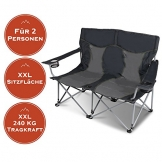 XXL Campingsofa mit 240 KG Tragkraft | 2 Getränkehalter | Doppel-Campingstuhl im Lounge-Charakter für EXTREMEN Komfort | Minimales Gewicht | für 2 Personen (Campingsofa Grau-Schwarz) - 1