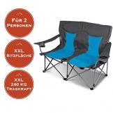 XXL Campingsofa mit 240 KG Tragkraft | 2 Getränkehalter | Doppel-Campingstuhl im Lounge-Charakter für EXTREMEN Komfort | Minimales Gewicht | für 2 Personen (Campingsofa Grau-Blau) - 1