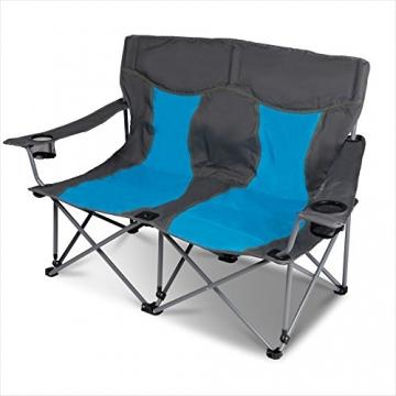 XXL Campingsofa mit 240 KG Tragkraft | 2 Getränkehalter | Doppel-Campingstuhl im Lounge-Charakter für EXTREMEN Komfort | Minimales Gewicht | für 2 Personen (Campingsofa Grau-Blau) - 2