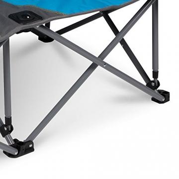 XXL Campingsofa mit 240 KG Tragkraft | 2 Getränkehalter | Doppel-Campingstuhl im Lounge-Charakter für EXTREMEN Komfort | Minimales Gewicht | für 2 Personen (Campingsofa Grau-Blau) - 4