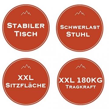 XXL Campingstuhl mit bis zu 180 KG Tragkraft, EXTREMER Komfort Dank zusätzlicher Polsterungen, XXL Schwerlaststuhl Extra Robust + Stabil bei leichtem Eigengewicht, XXL Campingstuhl mit Tisch - 4