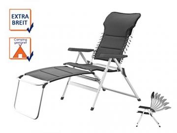 XXL stabiler Hochlehner Campingstuhl gepolstert in Anthrazit mit praktischer Fußablage - Ideal zum Relaxen - 2