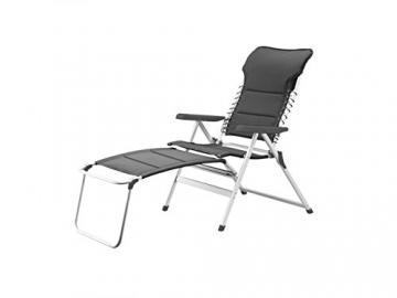 XXL stabiler Hochlehner Campingstuhl gepolstert in Anthrazit mit praktischer Fußablage - Ideal zum Relaxen - 1