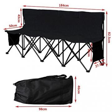Yaheetech Campingbank tragbar Sitzbank Campingstuhl mit Tragetasche Ersatzbank Faltbank mit Lehne für 4 Personen - 3