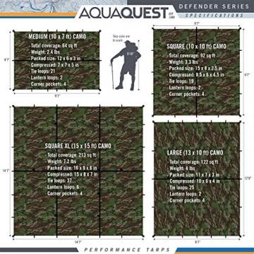 Aqua Quest Defender Tarp - 100% wasserdichte Plane Bushcraft Überleben Obdach - 3x2, 3x3, 4x3, 4.5x4.5 m Camo/Tarnung, Olivgrün oder mit Zubehör Kit (Camo/Tarnung, 4 x 3 m) - 2