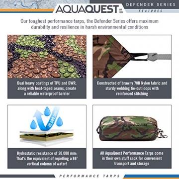 Aqua Quest Defender Tarp - 100% wasserdichte Plane Bushcraft Überleben Obdach - 3x2, 3x3, 4x3, 4.5x4.5 m Camo/Tarnung, Olivgrün oder mit Zubehör Kit (Camo/Tarnung, 4 x 3 m) - 4